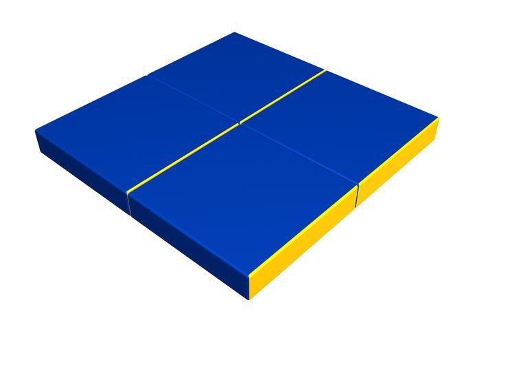 MATERAC WIELOFUNKCYJNY jest przeznaczony dla zajęć sportem i zabawy wewnątrz pomieszceń. Chroni podczas zabawy lub podczas zajęc sportem. Wymiary po rozłożeniu 100x100x10(h) cm. Wymiary po złożeniu 50x50x40(h) cm. Składa się z 4-ech zszytych między sobą sektorów o wymiarach 50x50x10(h) cm. Pozwala tworzyć dowolne formy: materac, fotel, otomana – tym samym rozwija wyobraźnię dziecka. Łatwo się cyści mokrą ścierką. Wspaniały i niezbędny dodatek do zestawów gimnastycznych.