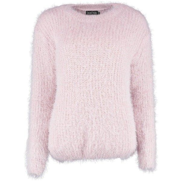 Boohoo Zoe Hairy Jumper (£12) ❤ liked on Polyvore featuring tops, sweaters, turtle neck sweater, chunky turtleneck sweater, pink turtleneck, knit turtleneck sweater and pink sequin top