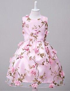 Da ballo Al ginocchio Abito da damigella d'onore bambina - Organza Senza maniche Con decorazione gioiello con Con applique