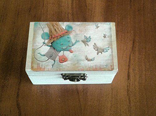 Caja Ratoncito perez para guardar los dientes,color blanco con dibujo en la tapa.