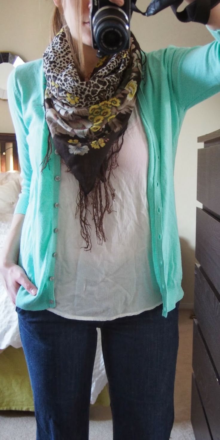 Mint cardigan + scarf