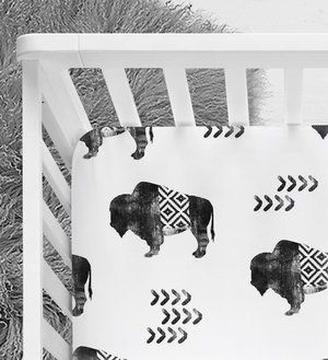 Tribal Buffalo, Aztec Crib sheet, Tribal nursery