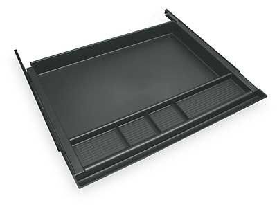 """Center Drawer for Desk or Credenza . $65.00. * Attaches to underside of worksurface * Full extension slides Measures 21""""W x 16""""D x 2""""H overall. Shpg. wt. 4 lbs. PRICE INCLUDES FREIGHT! (Truck shipment - See Terms & Conditions)."""