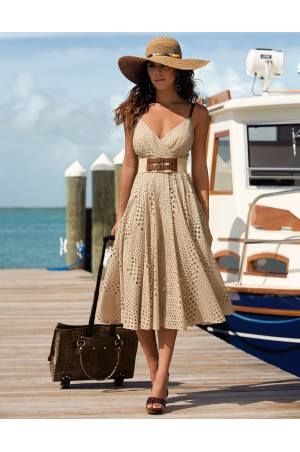 Ivory Lace dress, brown accessories - SS colours in hourglass style