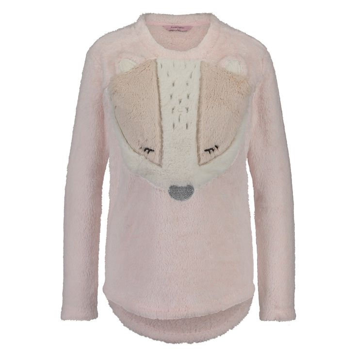 This warm sweater is ideal for cold winter months and is made from fleece material with a pretty pattern on the front.