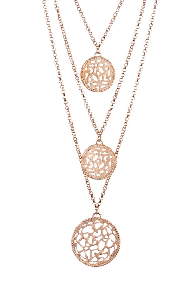 18K Rose Gold Clad Triple Row Filigree Round Station Cascading Necklace