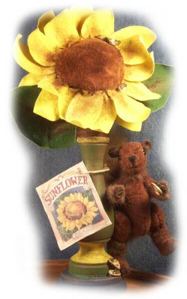 Miniature mouse with sunflower make-do pin cushion