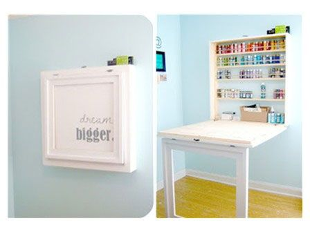 Fold-down table could be very helpful for certain projects in a sewing room.