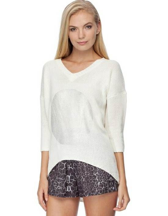 Oversized Sequin Circle White Knit Cardigan - $56.00