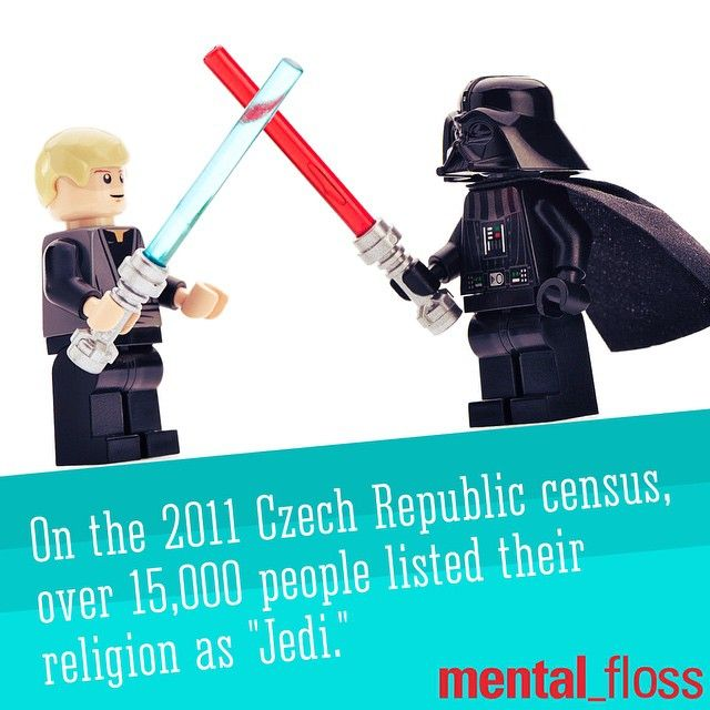 """We're moving!  There are over 15,000 religious """"Jedis"""" in the Czech Republic.  mental_floss's photo on Instagram"""