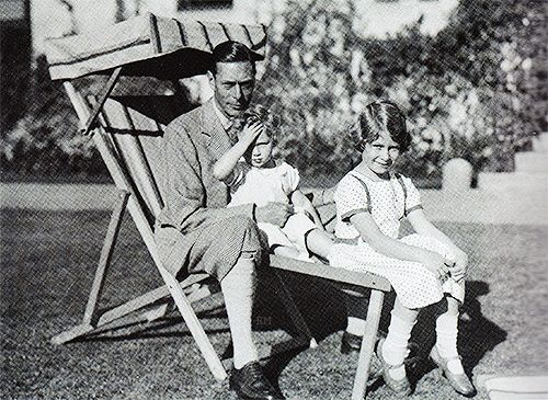 The Duke of York (later King George VI) with his daughters, Princesses Margaret and Elizabeth.