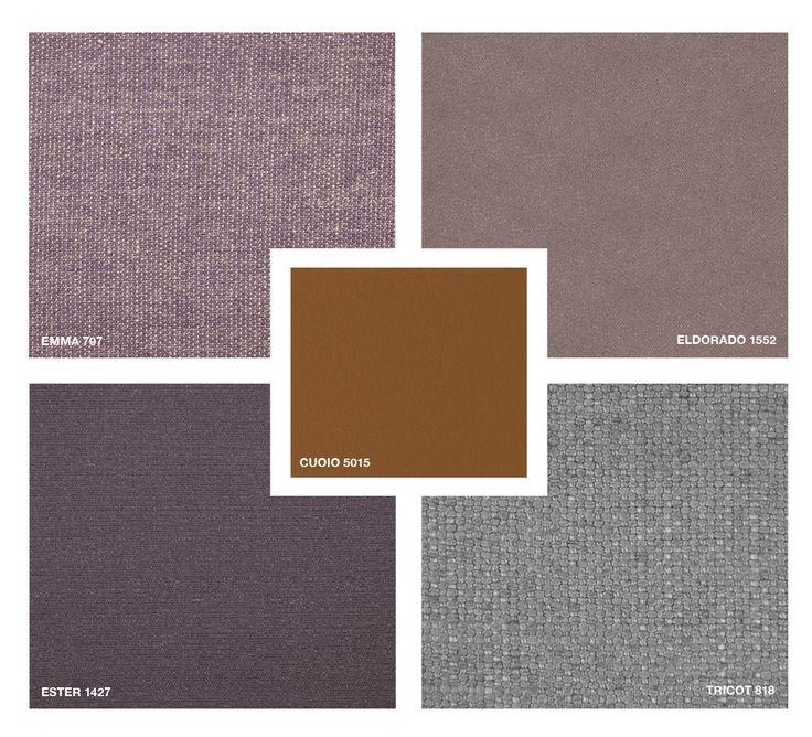 Hide Leather: Cuoio 5015 Fabrics: Emma 797 - Ester 1427 - Tricot 818 Velvet: Eldorado 1552