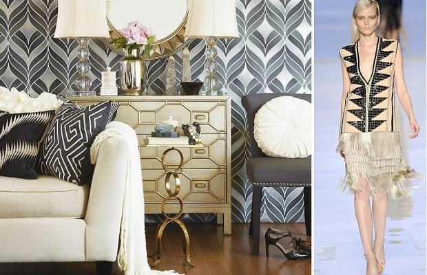 The runway resurgence of Art Deco-inspired geometric patterns in black, white and cream is reflected in the interior-design world, including this gorgeous patterned #wallpaper. #decor #blackandwhite #whiteandblackGeometric Pattern