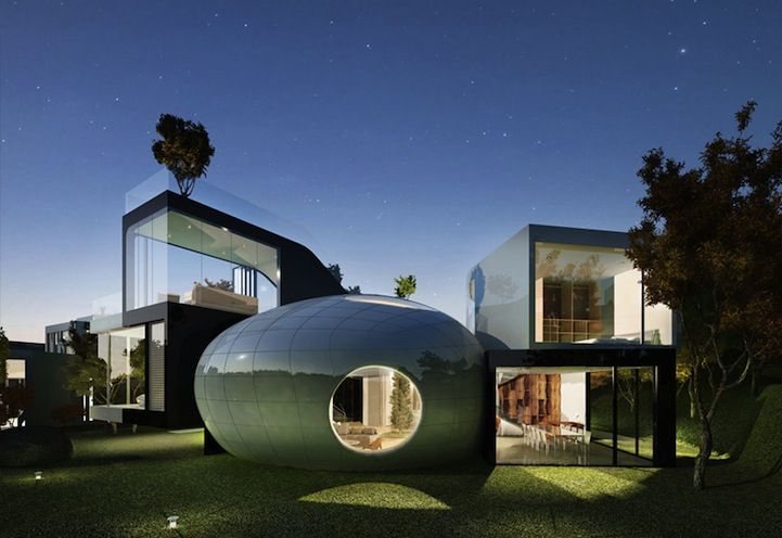 Located on South Korea's volcanic Jeju island, architecture firm Planning Korea recently completed their unique design for a luxury condominium inspired by nature. The Cocoon House features an outdoor pool overlooking the sea, kitchen and living areas, a conference zone, small library, and rooftop garden.