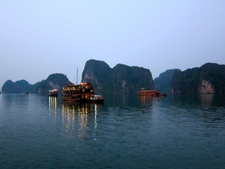 Halong Bay Junk Boat Cruise at sunset in #Thailand