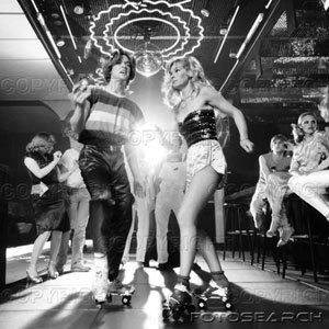 1970's couple disco dancing