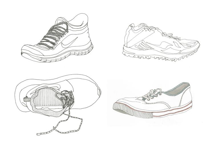 Shoe illustrations, in ink pen and watercolour. By Jasmine Dunton