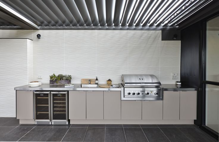 Laminex alfresco compact laminate in stone was used for for Block outdoor kitchen