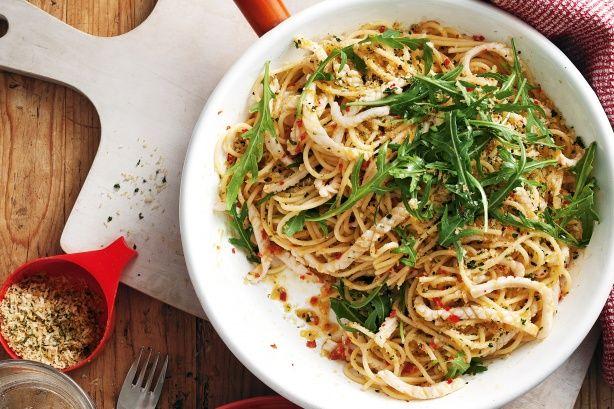 Spaghetti with calamari, chilli & parsley crumbs. Delicious!