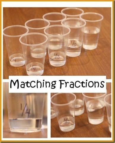 Matching fractions. Use clear plastic cups to show that 1/2 is equal to 2/4 by showing they have the same amount of water.