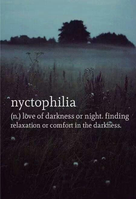 Nyctophilia noun,  love darkness or night. Feeling relaxation or comfort in the darkness. Word definition