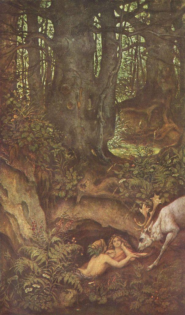 Moritz von Schwind - Nixies and drinking deer, 1846