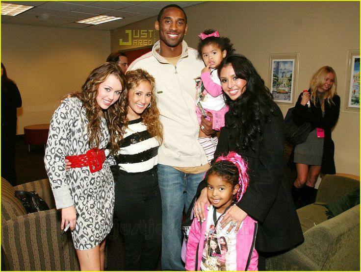 Miley Cyrus and Adrienne Bailon Meets Kobe Bryant, his wife Vanessa Bryant, his two daughters Natalia Bryant and Gianna Bryant