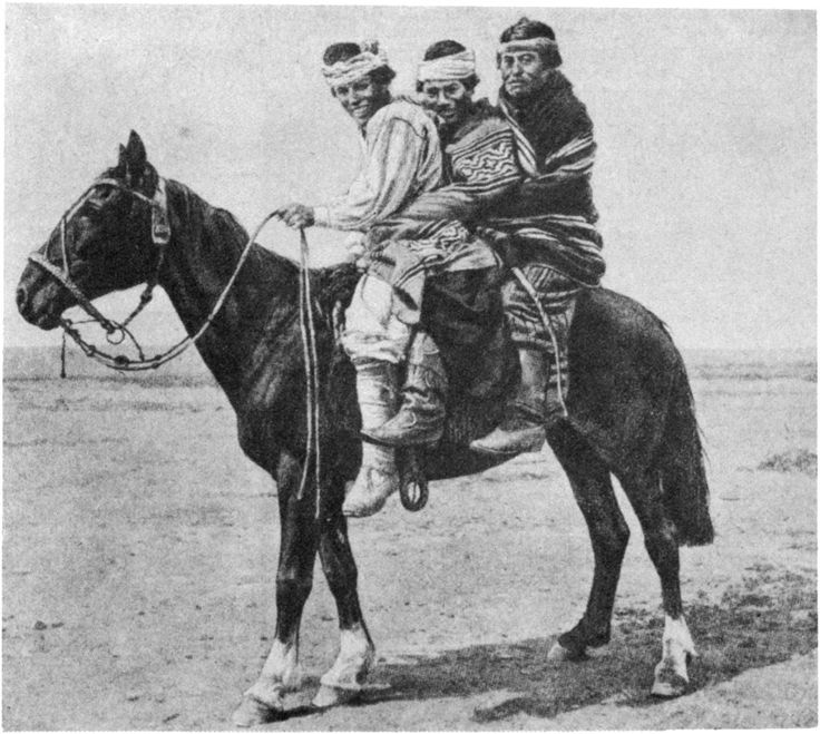 Young Tehuelche indians on horseback, Patagonia.