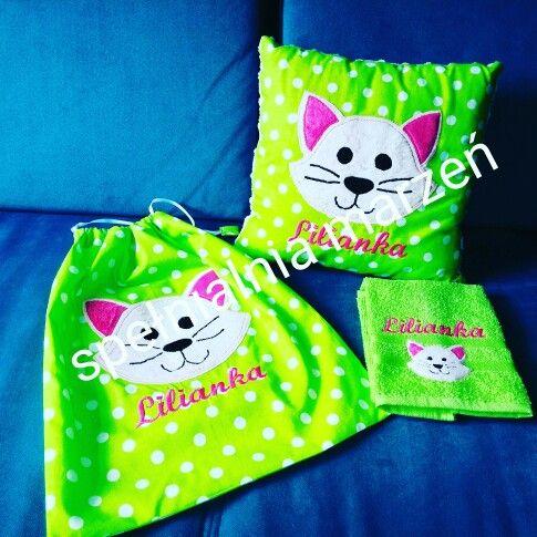 Zestaw przrdszkolaka: worek+poduszka+ręcznik  www.spelnialniamarzen.com.pl #woreknabuty #wyprawkaprzedszkolaka #cat #pillow #spelnialniamarzen
