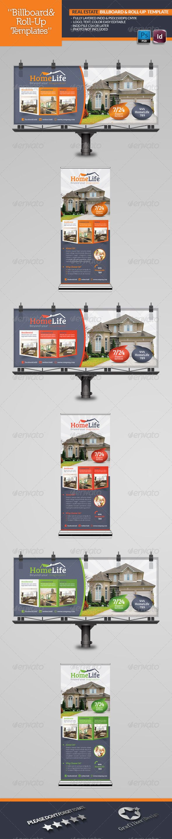 Real Estate Billboard & RollUp Template — Photoshop PSD #real estate agents #store • Available here → https://graphicriver.net/item/real-estate-billboard-rollup-template/5212636?ref=pxcr