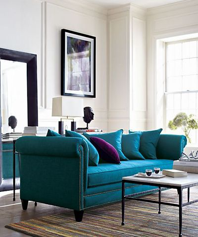 Turquoise couch ♡ teaspoonheaven.com
