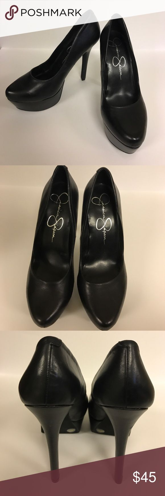 Jessica Simpson Black Pumps Black size 8.5 Jessica Simpson Pumps. Worn twice, excellent condition. Heel height is 4 in. Super comfortable, just not my size! Fits like a 8.5/9. (The white mark in the model photo is just the sticker!) Jessica Simpson Shoes Heels