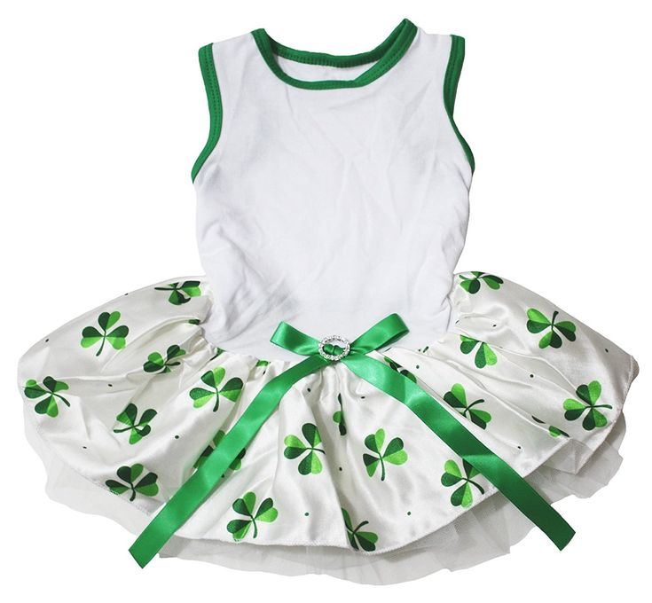 Pet Supply St Patrick's Day Wear White Top Green Leafs Satin Tutu Dog Dress   : Cats Apparel