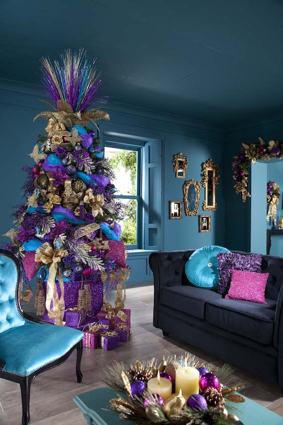 Blue Theme Christimas Purple Tree Decoration Chair Dark Sofa And Floor