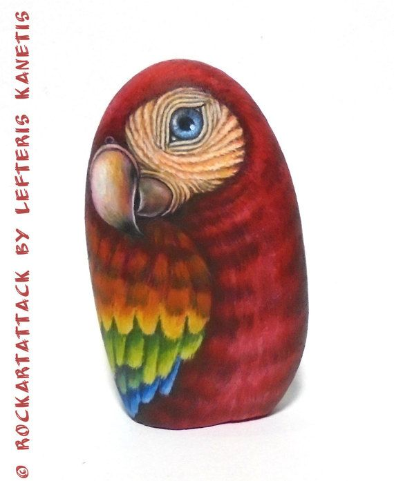 Red Parrot 3D Hand Painted on Stone  Is Painted by RockArtAttack