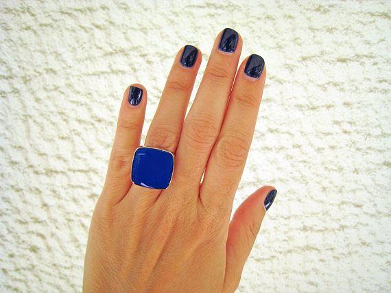 Blue statement ring lapis blue ring cobalt blue resin ring