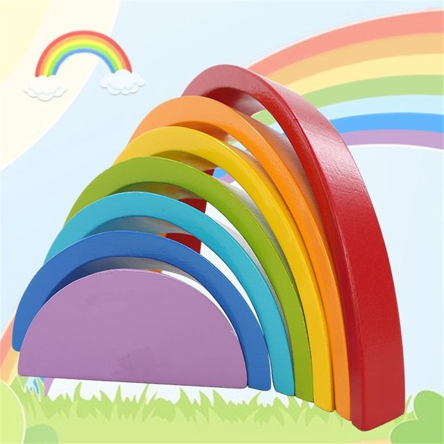 Wooden Rainbow Buliding Blocks Colorful Children Kids Educational Play Toy Set Children Toys Brinquedos Favor Supplies
