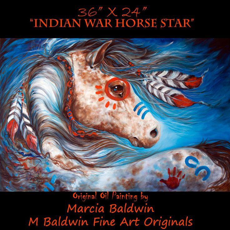 M BALDWIN ORIGINAL OIL PAINTING INDIAN WAR HORSE STAR by MARCIA BALDWIN #Abstract