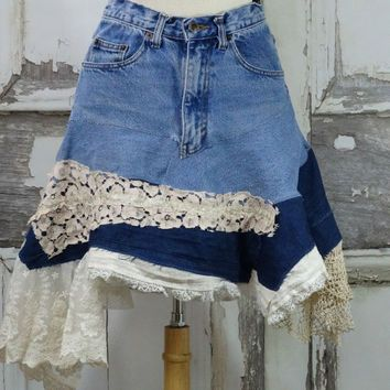 Lacy Jean Skirt, Upcycled Clothing,Artsy Jean Skirt,Shabby Chic,Wearable Art