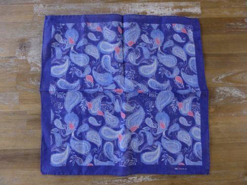 auth KITON Napoli blue paisley motif linen pocket square handkerchief - NWOT