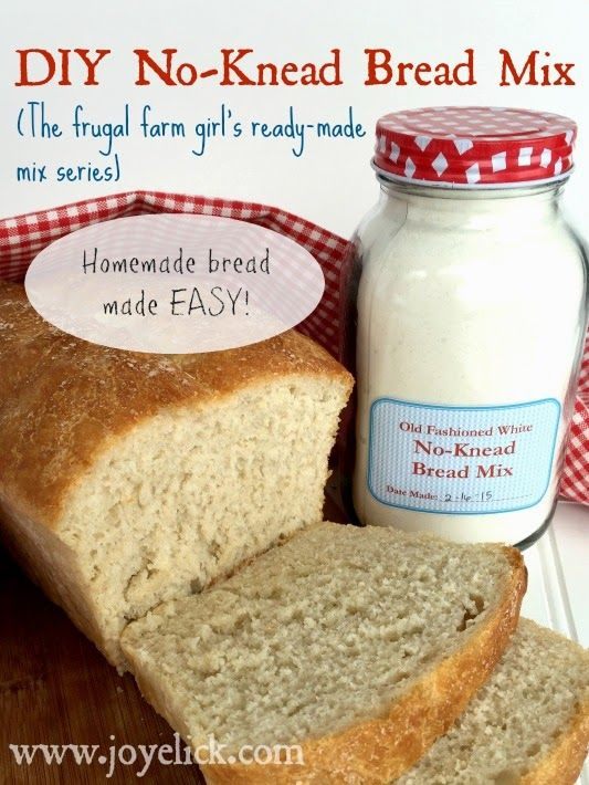 DIY No-Knead BREAD MIX: The frugal farm girl's ready-made mix series. FREE printables. (Lots more mix recipes here, too). Farm Girl Inspirations: www.joyelick.com.
