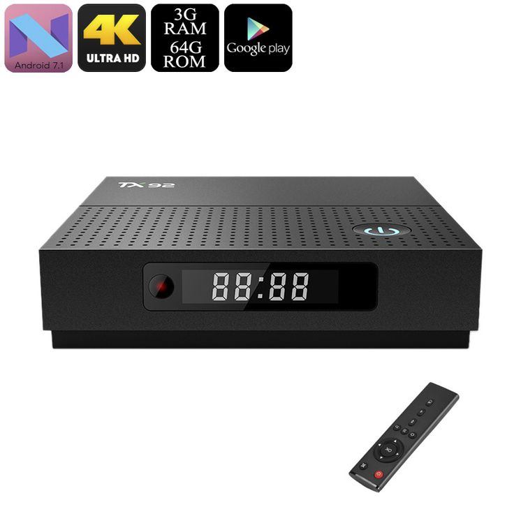TX92 Android TV Box - Octa-Core CPU, 3GB RAM, 4K Support, Bluetooth, WiFi, Google Play, Android 7.1, DLNA (64GB) - TX92 Android TV Box runs on the latest Android 7.1 OS for a smooth user experience. It packs a powerful Octa-Core CPU and 3GB RAM.