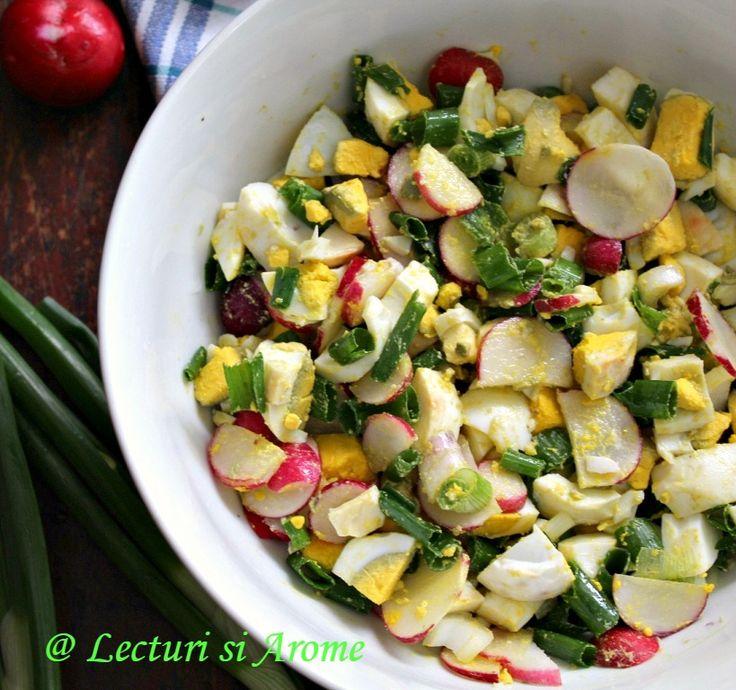 Salata de oua cu ridichi si ceapa verde