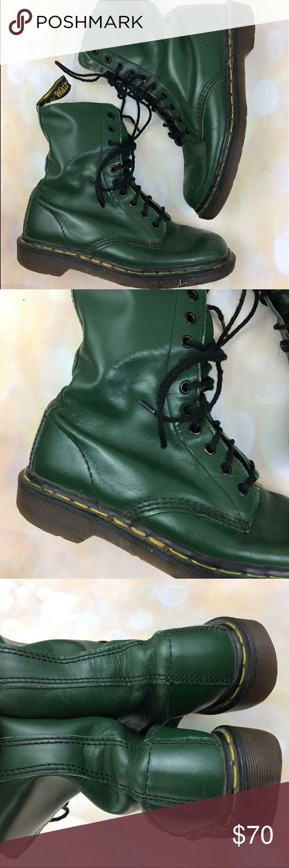 Doc Martens vintage forest green leather boots Good pre owned condition. Have some wear and crinkles in leather Dr. Martens Shoes