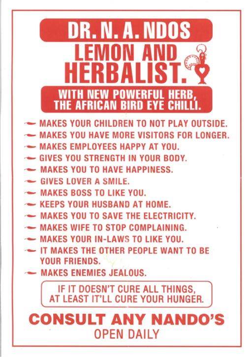 Nando's advert   Lemon and herbalist   South Africa   Source: http://eishsangoma.wordpress.com/