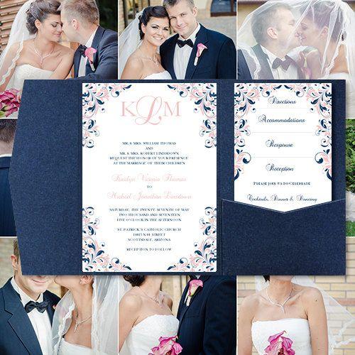 Pocketfold Wedding Invitations Kaitlyn Blush by WeddingTemplates