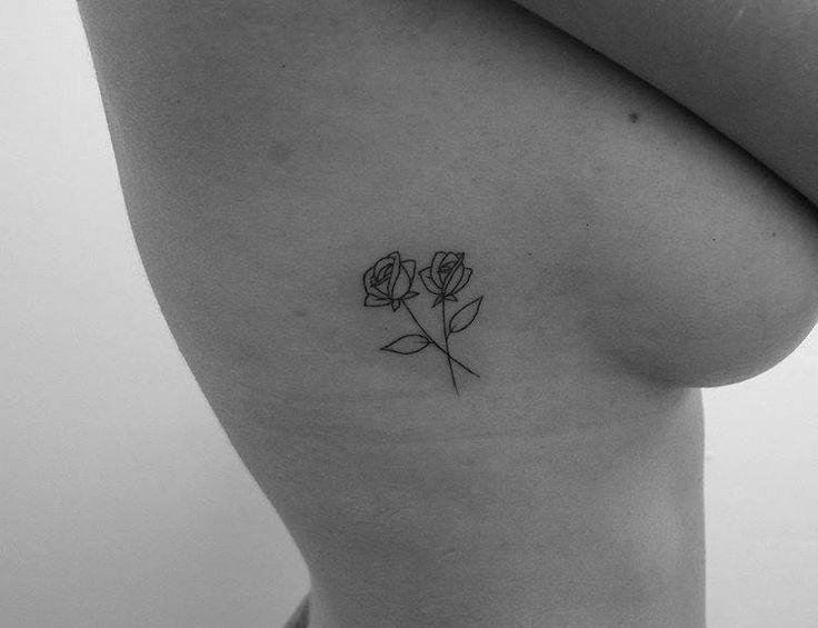 Fine Line Roses On The Right Ribcage Rib Tattoo Small Tattoos Rose Tattoos