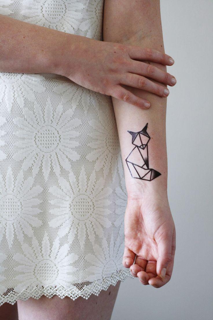 Geometric fox temporary tattoo
