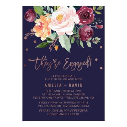 Autumn Floral Rose Gold Wreath Engagement Party Card - flowers floral flower design unique style