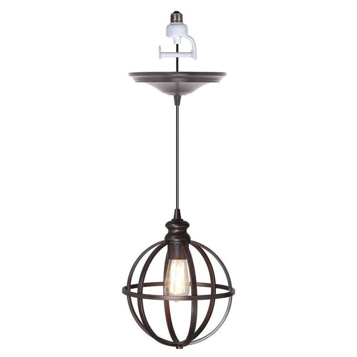 worth home products 1light brushed bronze instant pendant light conversion kit and globe cage